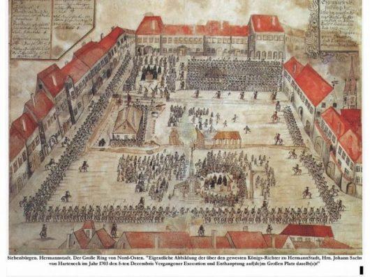Piața Mare Execuţia lui Johann Zabanius Sachs von Harteneck - 1703
