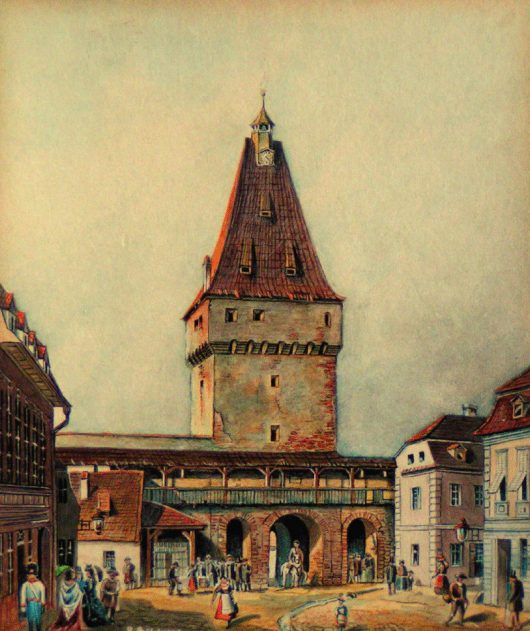 Johann Böbel (1824-1887) - Pictură în acuarelă a Turnului Porții Cisnădiei