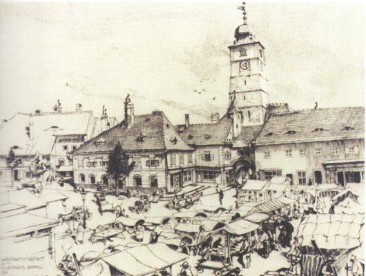Piață săptămânală din Piața Mică, de L. Hessheimer, expusă la Muzeul Brukenthal