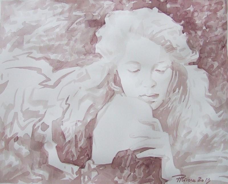 Symphy Inside, 50 x 70 cm, laviu de vin rosu pe hartie Fabriano